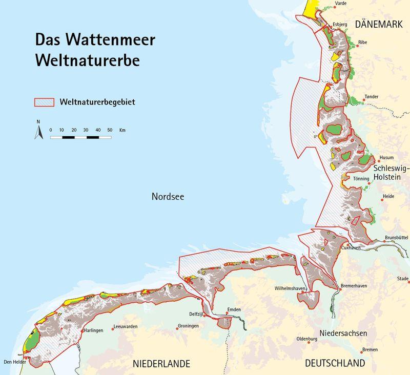 Karte der Ausbreitungs des Weltnaturerbes Wattenmeer inklusive Langeoog.